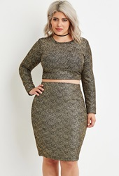 Forever 21 Plus Size Metallic Flecked Crop Top Black Gold