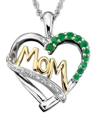 Macy's Sterling Silver And 14K Gold Pendant Emerald 1 3 Ct. T.W. And Diamond Accent Heart Mom