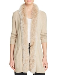 Bloomingdale's C By Fox Fur Trim Cashmere Cardigan Oatmeal