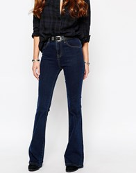 Only High Waist Retro Flare Jeans Blue