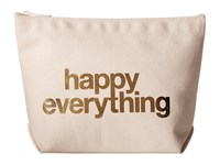 Dogeared Happy Everything Foil Lil Zip Canvas Gold Clutch Handbags Beige