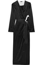 La Perla Talisman Stretch Silk Satin Robe Black