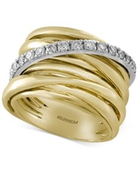 Effy Collection Duo By Effy Diamond Multi Row Ring 3 8 Ct. Tw. In 14K Gold With White Gold Accent Yellow White Gold