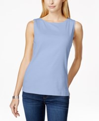 Karen Scott Sleeveless Boat Neck Tank Top Only At Macy's Blue Whisper