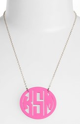 Women's Moon And Lola Large Oval Personalized Monogram Pendant Necklace Hot Pink Gold Nordstrom Exclusive