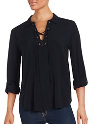 Saks Fifth Avenue Lace Up Solid Top Black