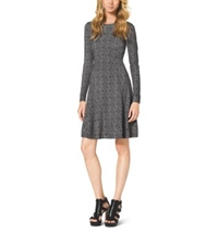 Michael Kors Printed Cotton Blend Dress Petite Black