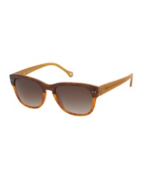 Ermenegildo Zegna Round Plastic Sunglasses Light Brown