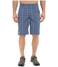 Columbia Cool Creek Stretch Plaid Short Steel Plaid Men's Shorts Blue