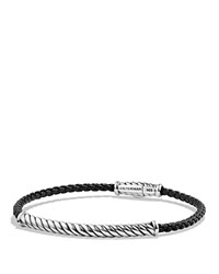 David Yurman Cable Leather Bracelet In Black Black Silver
