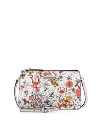 Charles Jourdan Wood Floral Print Leather Crossbody Bag White Multicolor