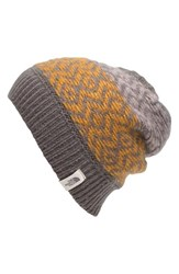 The North Face Women's Tribe N True Beanie Grey Rabbit Grey Citrine Yellow