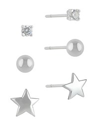 Lord And Taylor Sterling Silver Cubic Zirconia Stud Earring Set