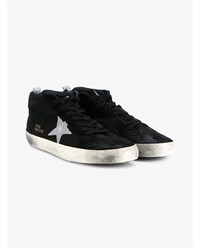 Golden Goose Midstar Leather Sneakers Black Silver Golden