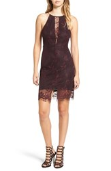 Astr Women's Illusion Lace Body Con Minidress Burgundy