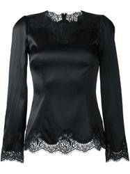 Dolce And Gabbana Lace Trim Fitted Blouse Black