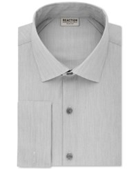Kenneth Cole Reaction Men's Slim Fit Broadcloth French Cuff Dress Shirt Gray Frost