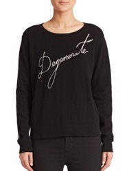 Milly Degenerate Cashmere Sweater Black