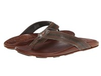 Olukai Po' Okela Charocal Dark Java Men's Sandals Brown