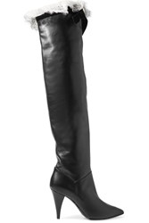 Philosophy Di Lorenzo Serafini Lace And Velvet Trimmed Leather Knee Boots Black