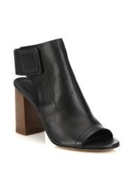 Vince Faye Open Toe Leather Booties Black Truffle