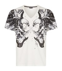 Just Cavalli V Neck Eagle And Guitar Print T Shirt Male White