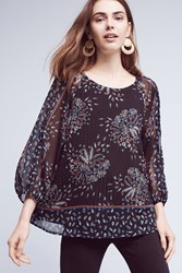 Anthropologie Beattie Open Shoulder Blouse Black Motif
