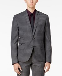 Bar Iii Men's Charcoal Check Slim Fit Jacket Only At Macy's Gray
