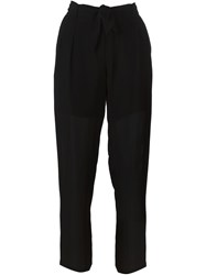 Raquel Allegra Sheer Cropped Trousers Black
