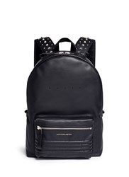 Alexander Mcqueen Stud Strap Leather Backpack Black