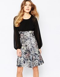 Traffic People Encore Dress With Rose Print Skirt Black