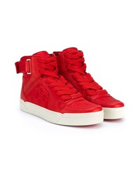 Gucci Red Leather Hi Top Trainers Red Off White Silver Black