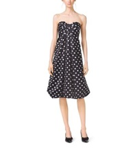 Michael Kors Polka Dot Silk Satin Bow Dress Black White
