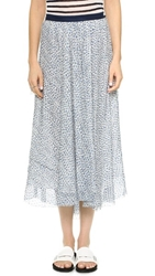 Band Of Outsiders Scribble Flower Althea Midi Skirt White Blue