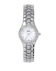 Bulova Ladies Crystal Bezel And Bracelet Accent Watch Silver