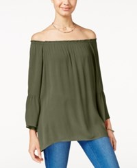 Say What Juniors' Off The Shoulder Blouse Olive