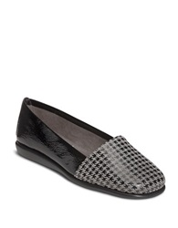 Aerosoles Mr Softee Leather Flats Black Houndstooth