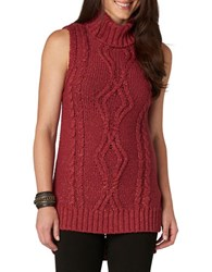 Democracy Sleeveless Cable Knit Sweater Rust