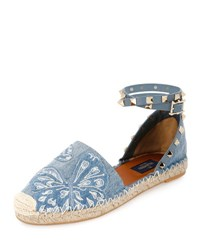 Valentino Rockstud Double Butterfly Espadrille Flat Denim Light Denim
