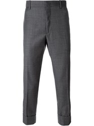 Paolo Pecora Turn Up Hem Cropped Trousers Grey