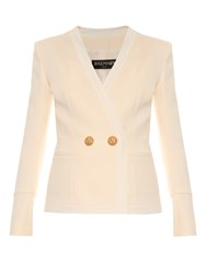 Balmain Two Button Collarless Double Breasted Blazer White