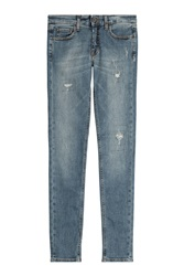 Victoria Beckham Denim Distressed Skinny Jeans Blue