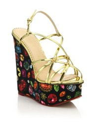 Charlotte Olympia Elizabeth Metallic Leather Jewel Print Wedge Sandals