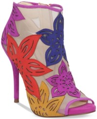Jessica Simpson Bliths Floral And Mesh Peep Toe Ankle Booties Women's Shoes Bright Multi