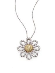 Roberto Coin Tiny Treasures Diamond Yellow Sapphire And 18K White Gold Daisy Pendant Necklace No Color