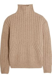 Toteme Verbier Ribbed Wool Blend Turtleneck Sweater Beige