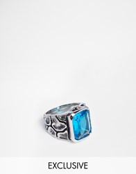 Reclaimed Vintage Blue Jewel Ring Silver