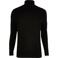 River Island Mens Black Muscle Fit Roll Neck Jumper