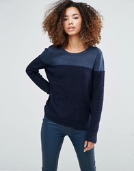 Shae Donna Block Colour Jumper In Navy Navy Combo