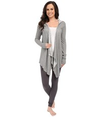 P.J. Salvage Reversible Cozy In Cable Wrap Cardigan Heather Grey Women's Sweater Gray